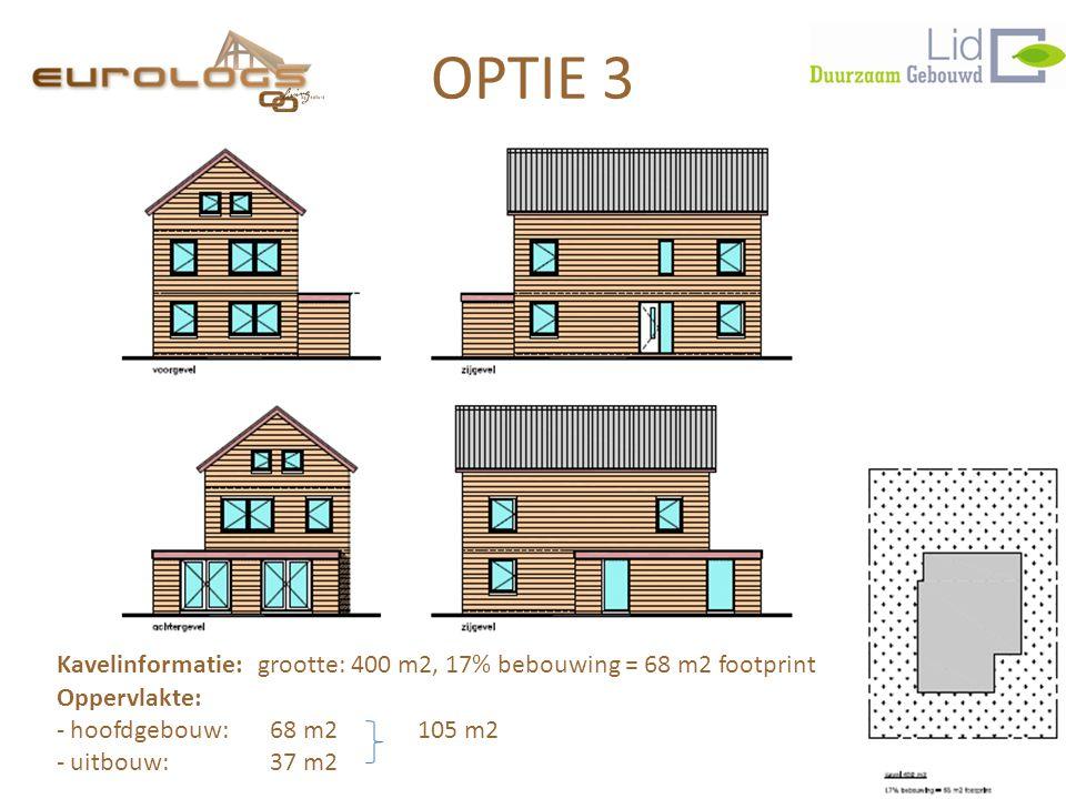 OPTIE 3 Kavelinformatie: grootte: 400 m2, 17% bebouwing = 68 m2 footprint. Oppervlakte: hoofdgebouw: 68 m2 105 m2.