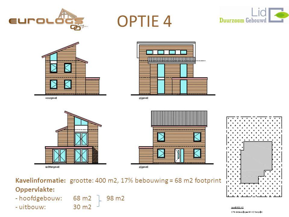 OPTIE 4 Kavelinformatie: grootte: 400 m2, 17% bebouwing = 68 m2 footprint. Oppervlakte: hoofdgebouw: 68 m2 98 m2.