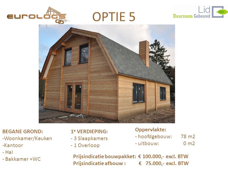OPTIE 5 Oppervlakte: BEGANE GROND: 1e VERDIEPING: hoofdgebouw: 78 m2