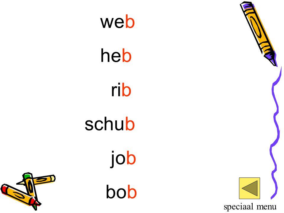 web heb rib schub job bob speciaal menu
