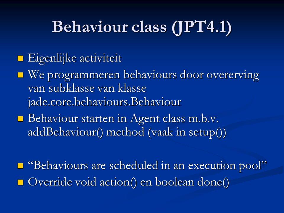 Behaviour class (JPT4.1) Eigenlijke activiteit