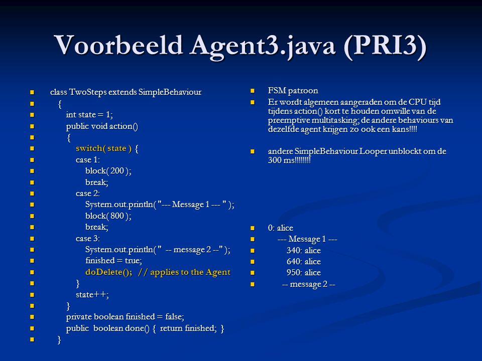 Voorbeeld Agent3.java (PRI3)