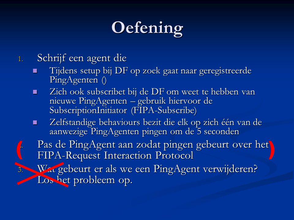 ( ) Oefening Schrijf een agent die