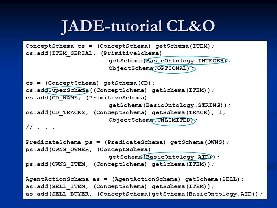 JADE-tutorial CL&O ConceptSchema cs = (ConceptSchema) getSchema(ITEM);