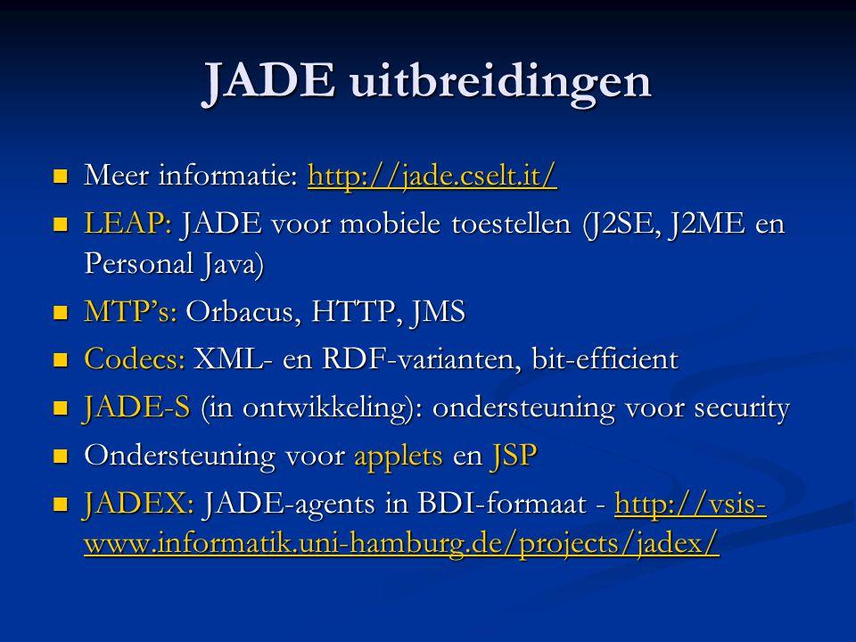 JADE uitbreidingen Meer informatie: http://jade.cselt.it/