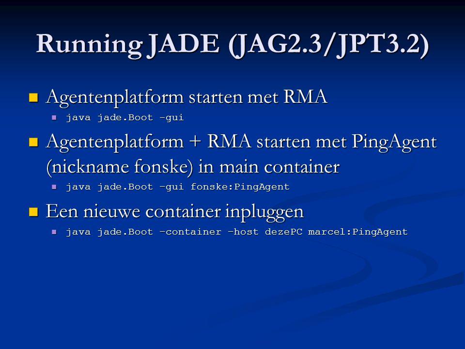 Running JADE (JAG2.3/JPT3.2)