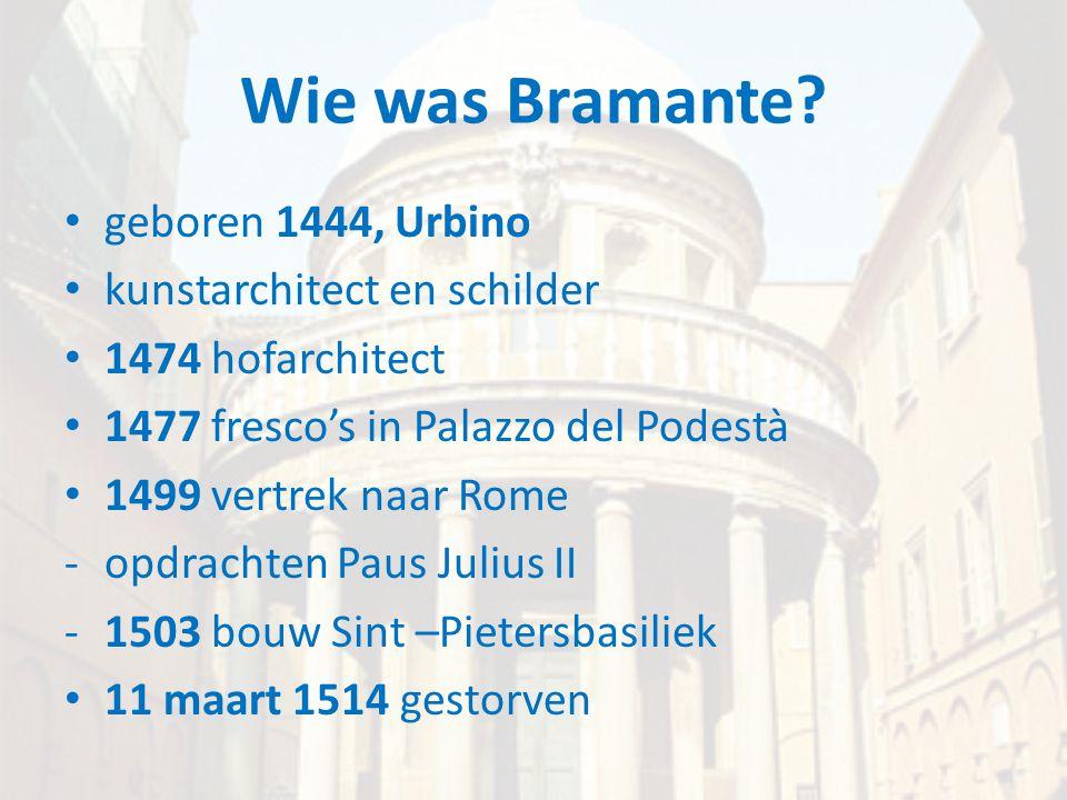 Wie was Bramante geboren 1444, Urbino kunstarchitect en schilder