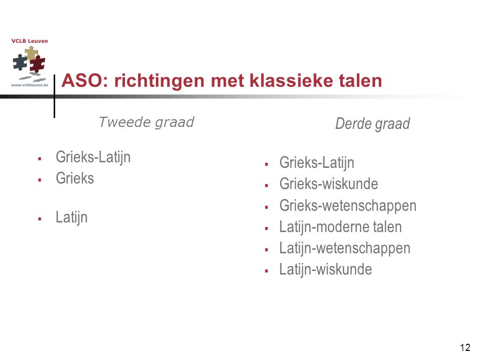ASO: richtingen met klassieke talen