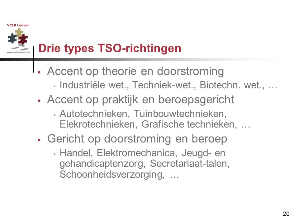 Drie types TSO-richtingen
