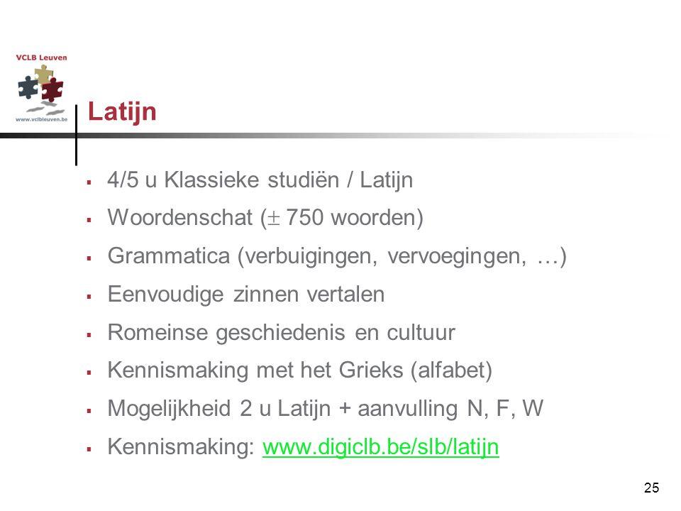 Latijn 4/5 u Klassieke studiën / Latijn Woordenschat ( 750 woorden)