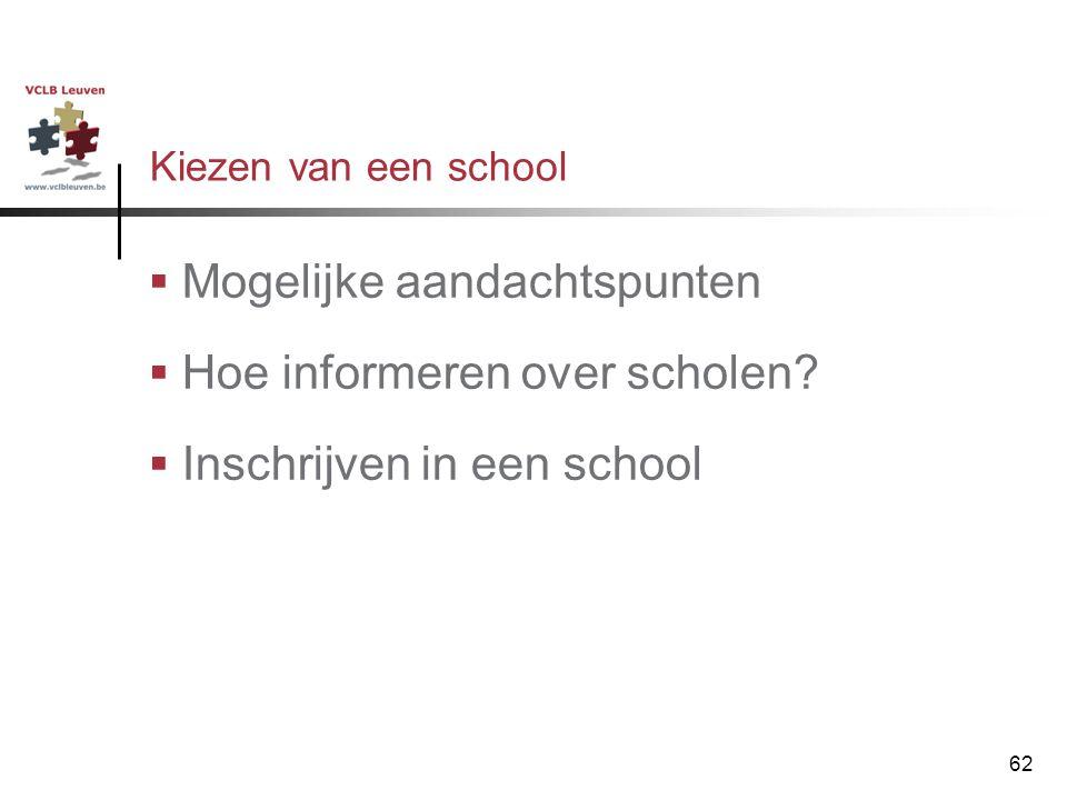 Mogelijke aandachtspunten Hoe informeren over scholen