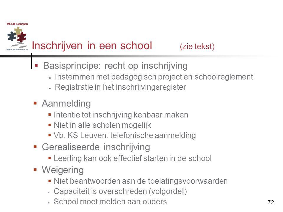 Inschrijven in een school (zie tekst)