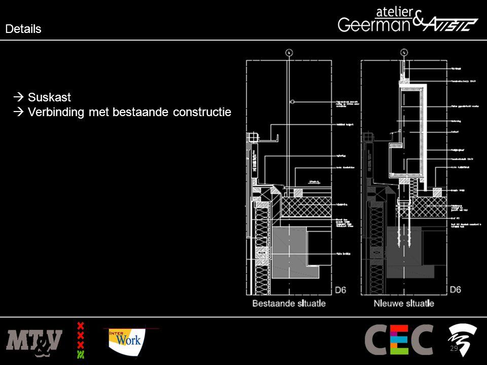 Details  Suskast  Verbinding met bestaande constructie