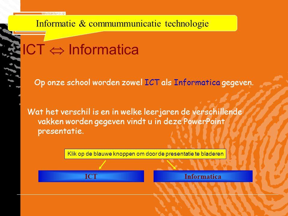 ICT  Informatica Informatie & commummunicatie technologie