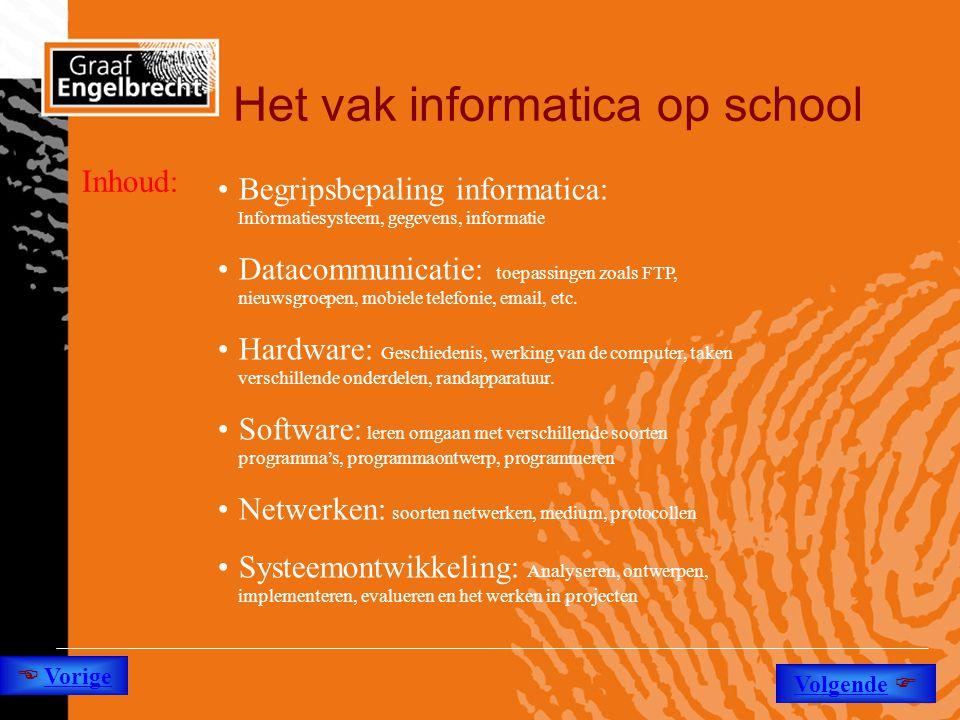 Het vak informatica op school