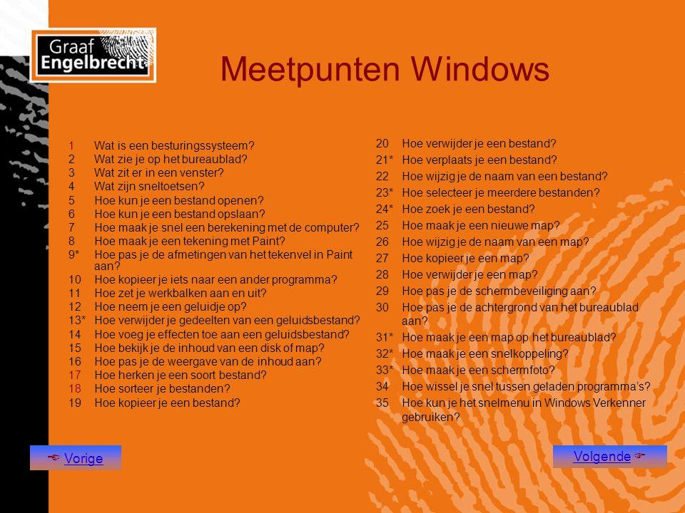Meetpunten Windows  Vorige Volgende 