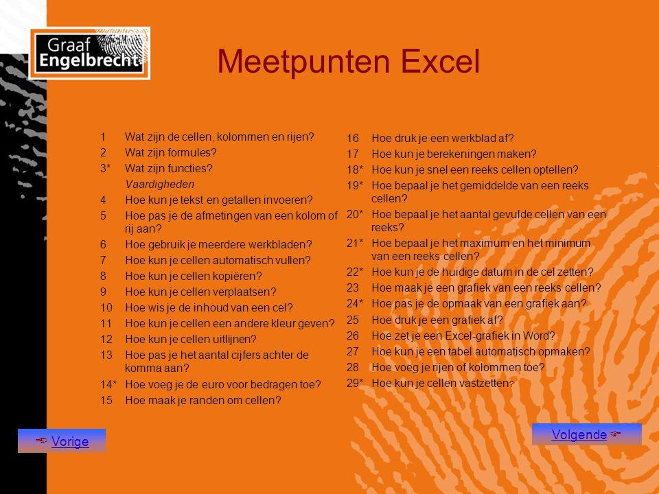 Meetpunten Excel  Vorige Volgende 