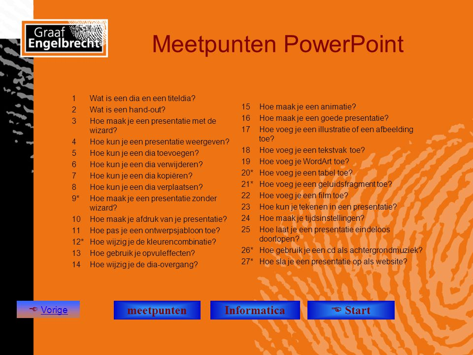 Meetpunten PowerPoint