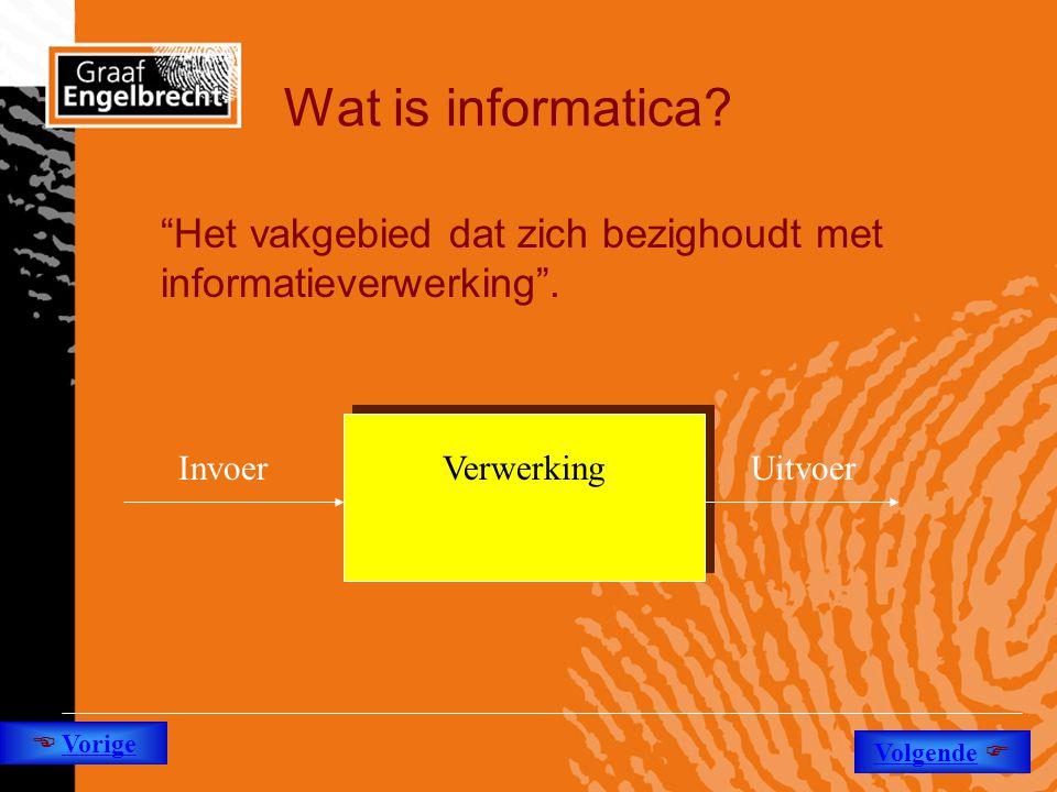 Wat is informatica Het vakgebied dat zich bezighoudt met informatieverwerking . Invoer. Uitvoer.
