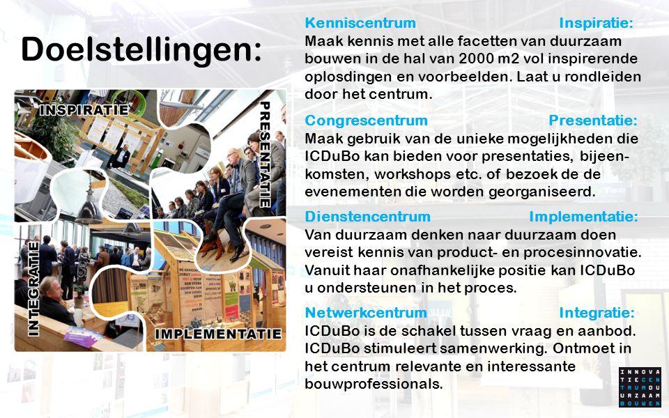 Kenniscentrum Inspiratie: Maak kennis met alle facetten van duurzaam bouwen in de hal van 2000 m2 vol inspirerende oplosdingen en voorbeelden. Laat u rondleiden door het centrum.