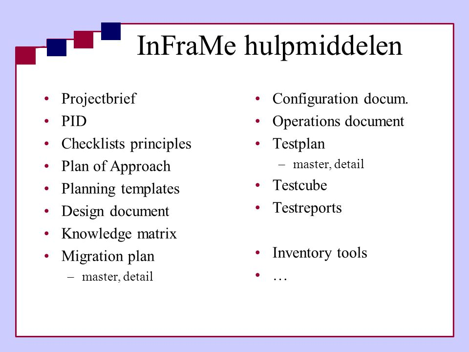 InFraMe hulpmiddelen Projectbrief PID Checklists principles