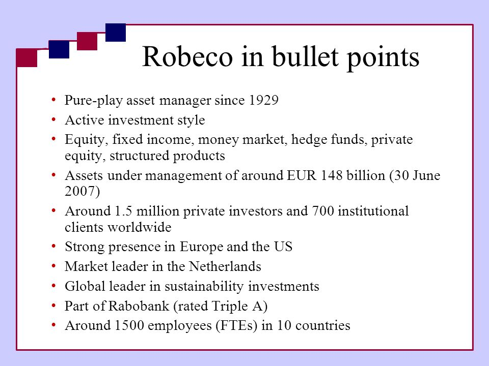 Robeco in bullet points