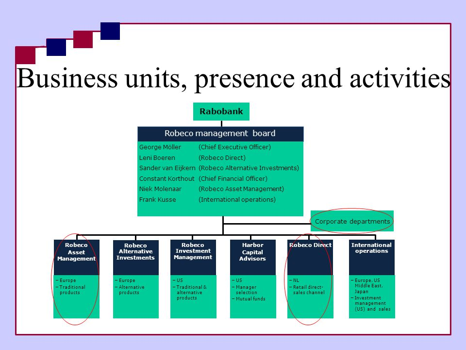 Business units, presence and activities