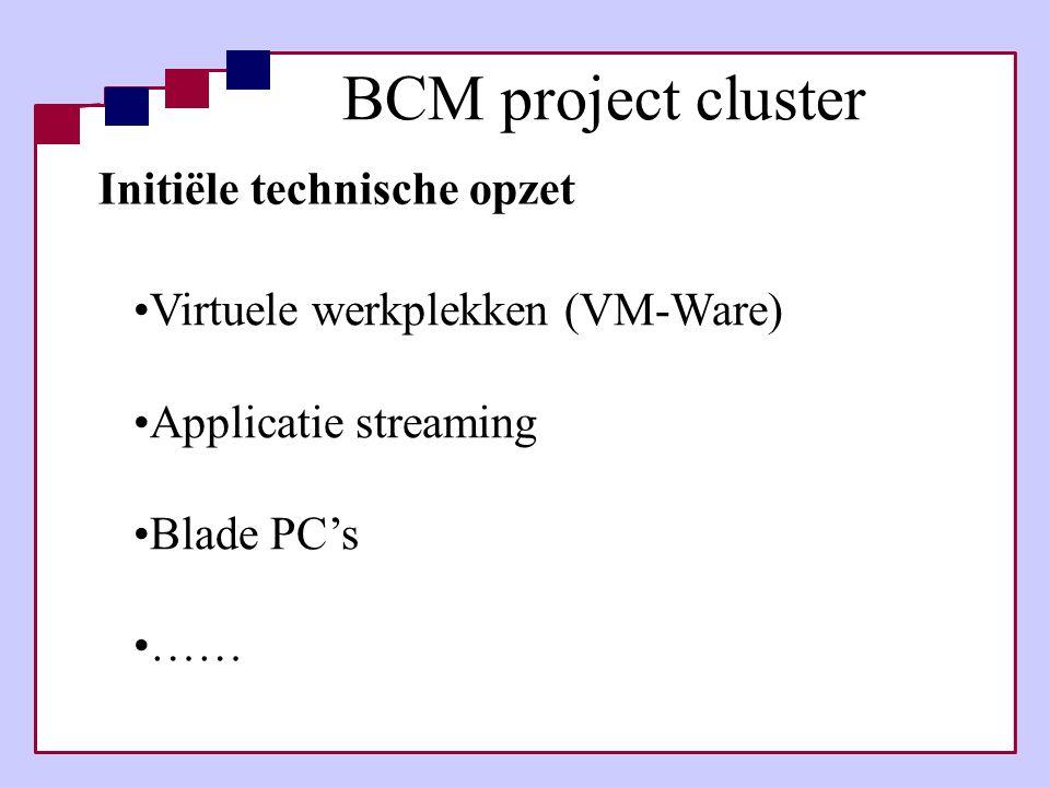BCM project cluster Initiële technische opzet