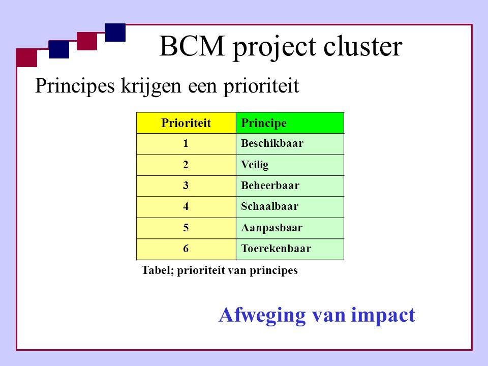 BCM project cluster Principes krijgen een prioriteit