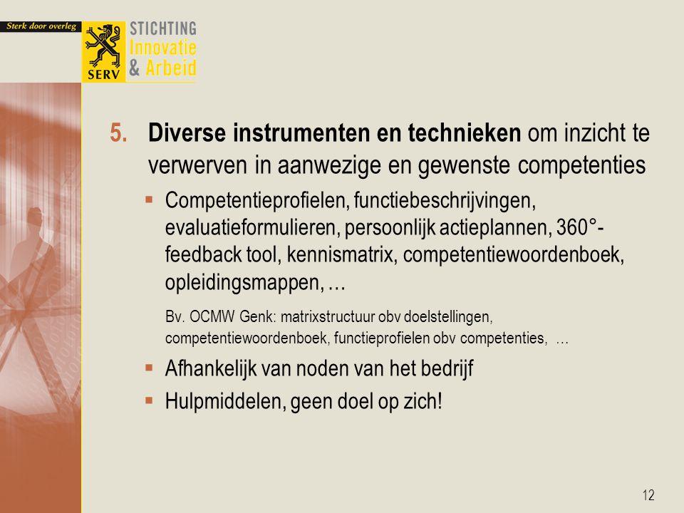 Diverse instrumenten en technieken om inzicht te verwerven in aanwezige en gewenste competenties