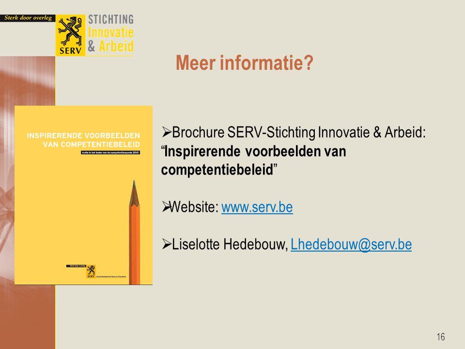 Meer informatie Brochure SERV-Stichting Innovatie & Arbeid: Inspirerende voorbeelden van competentiebeleid