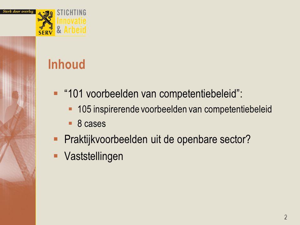 Inhoud 101 voorbeelden van competentiebeleid :