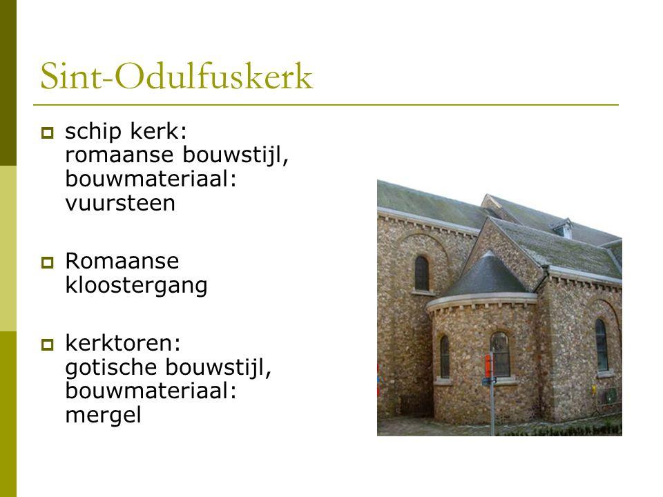 Sint-Odulfuskerk schip kerk: romaanse bouwstijl, bouwmateriaal: vuursteen. Romaanse kloostergang.
