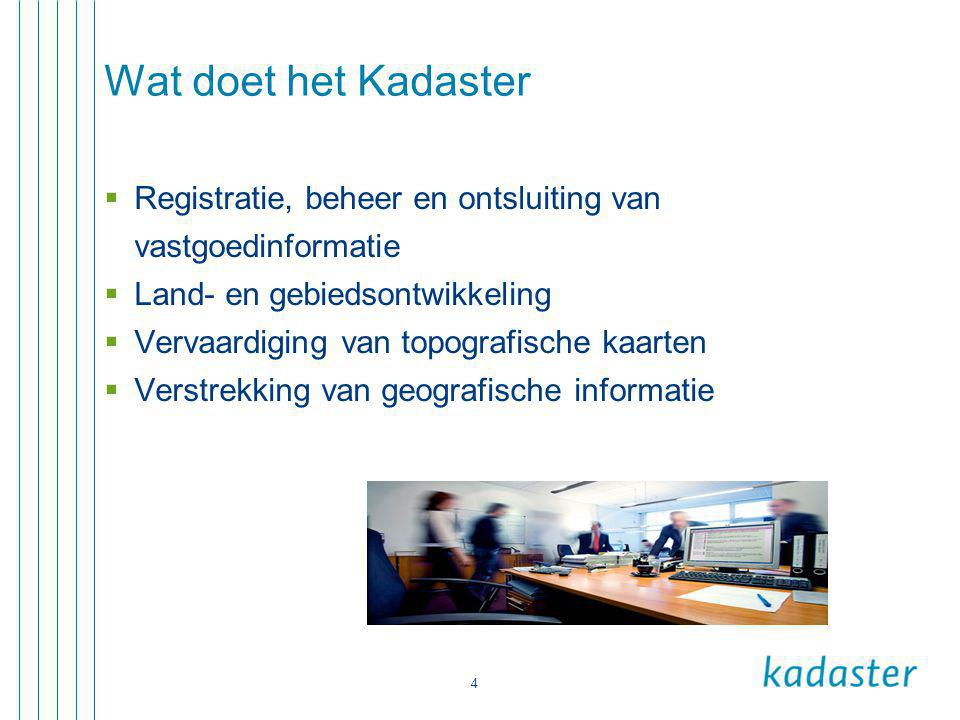 Wat doet het Kadaster Registratie, beheer en ontsluiting van vastgoedinformatie. Land- en gebiedsontwikkeling.