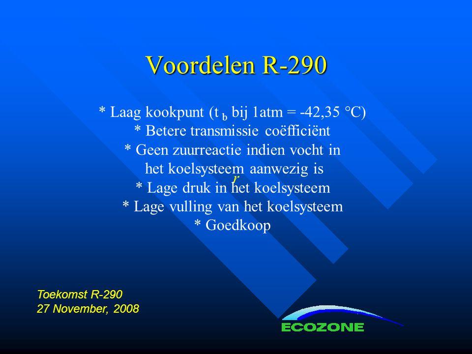 Voordelen R-290 * Laag kookpunt (t b bij 1atm = -42,35 °C)
