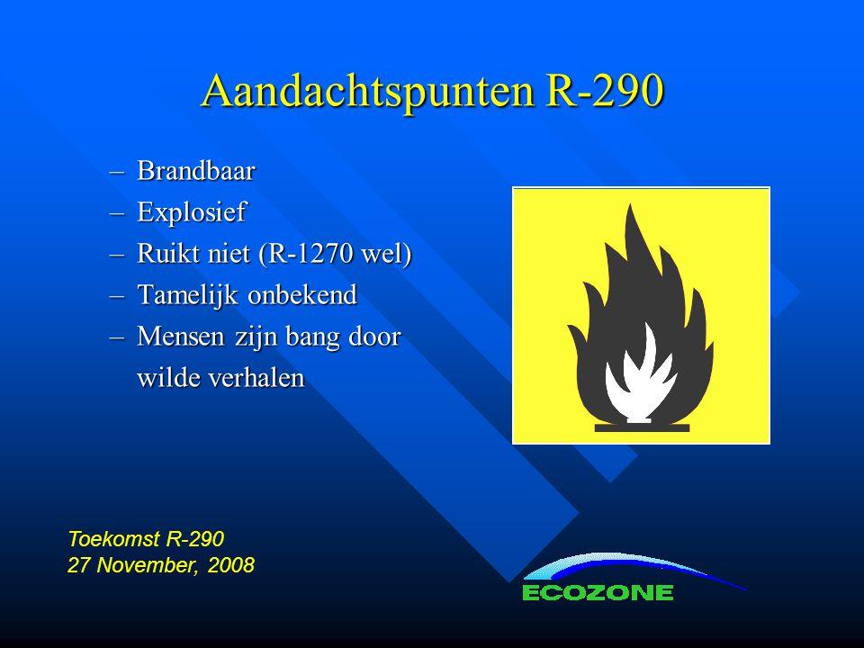 Aandachtspunten R-290 Brandbaar Explosief Ruikt niet (R-1270 wel)