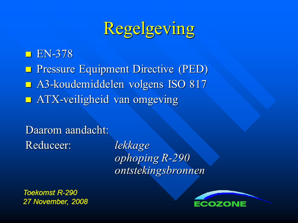 Regelgeving EN-378 Pressure Equipment Directive (PED)