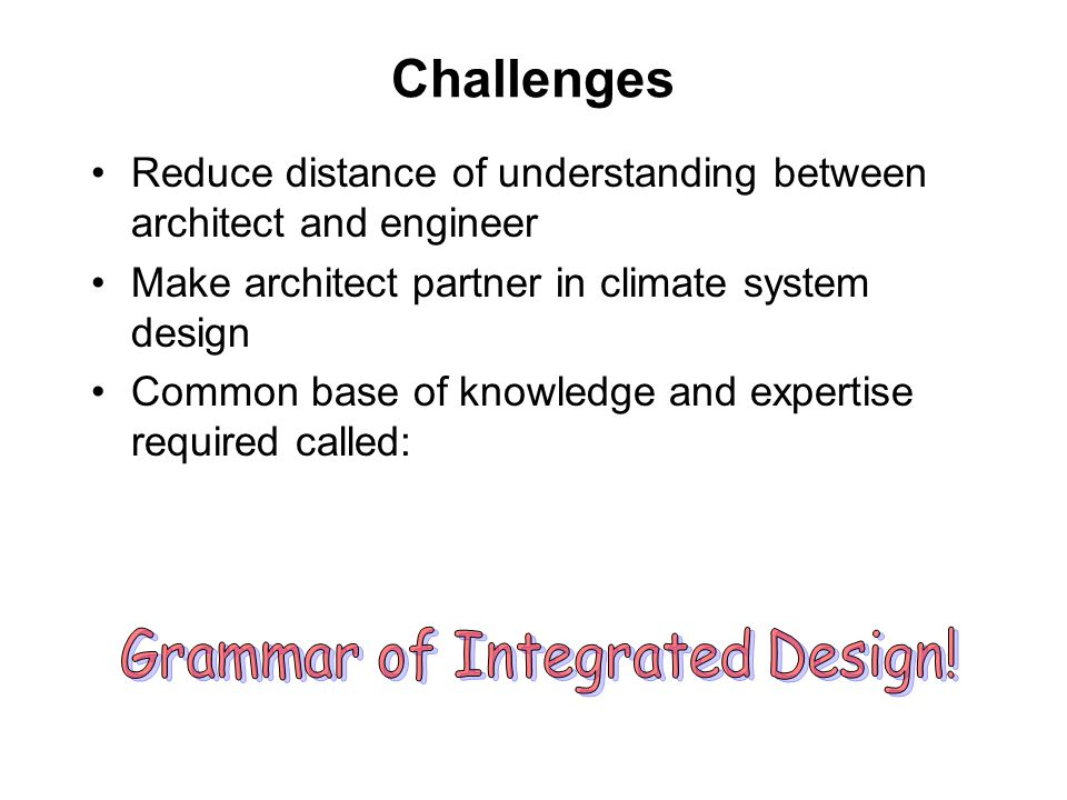 Grammar of Integrated Design!
