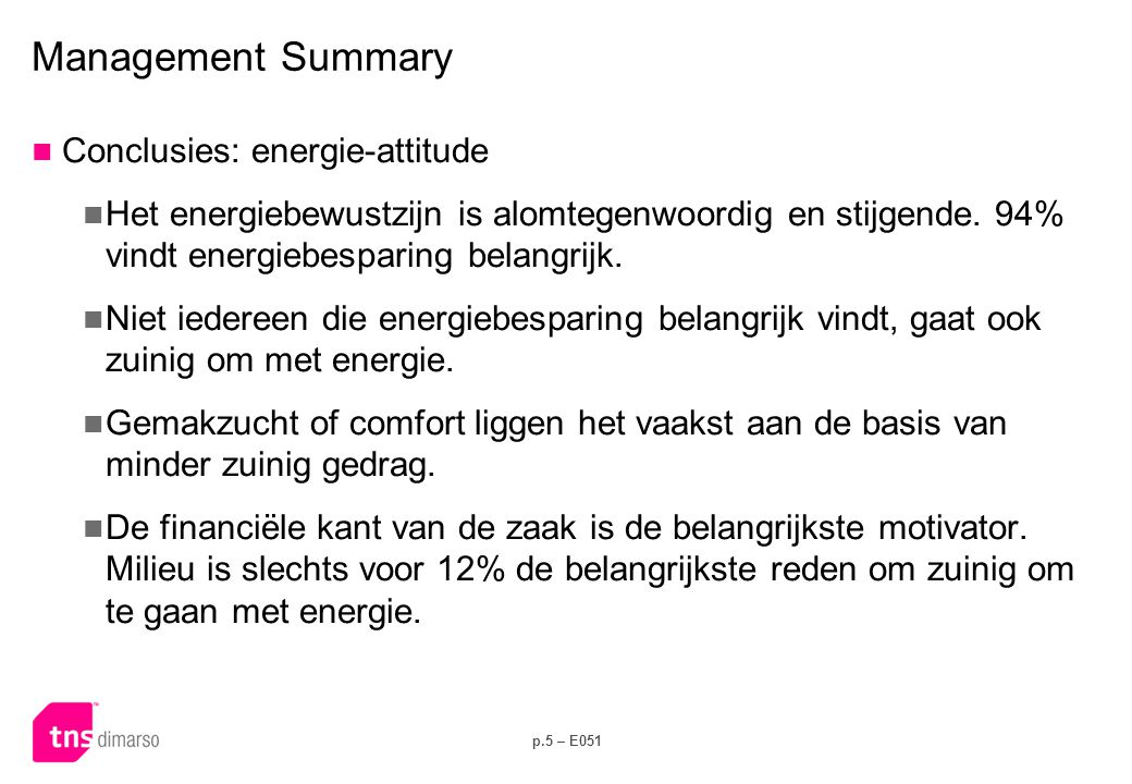 Management Summary Conclusies: energie-kennis