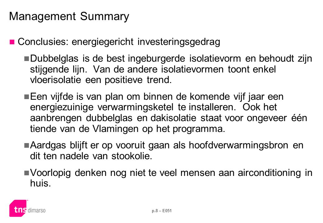 Management Summary Conclusies: energieverbruik