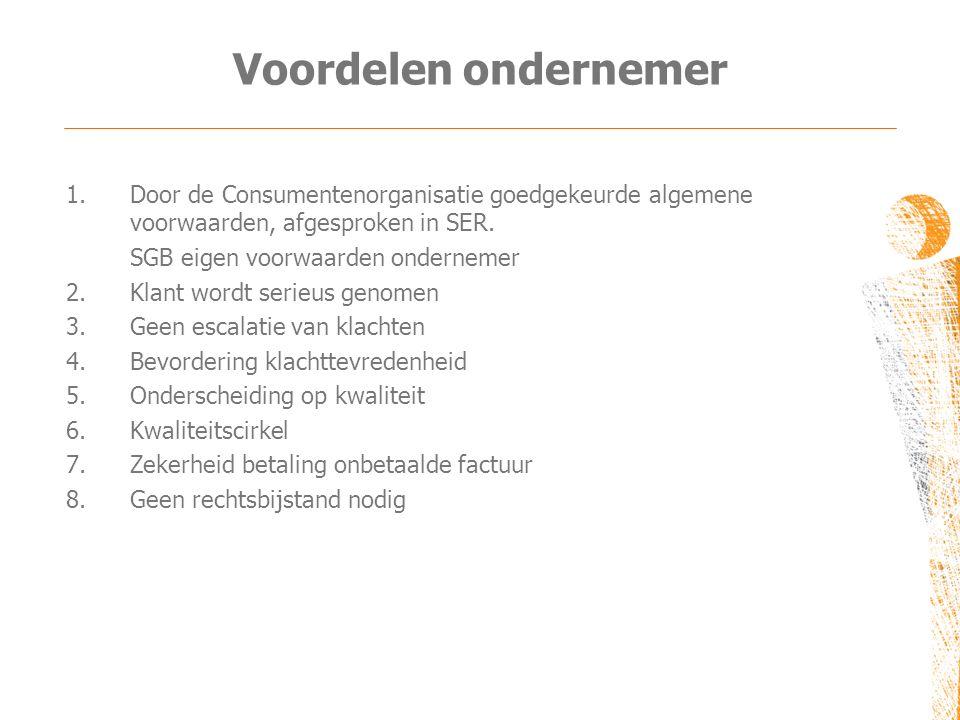 Voordelen ondernemer Door de Consumentenorganisatie goedgekeurde algemene voorwaarden, afgesproken in SER.