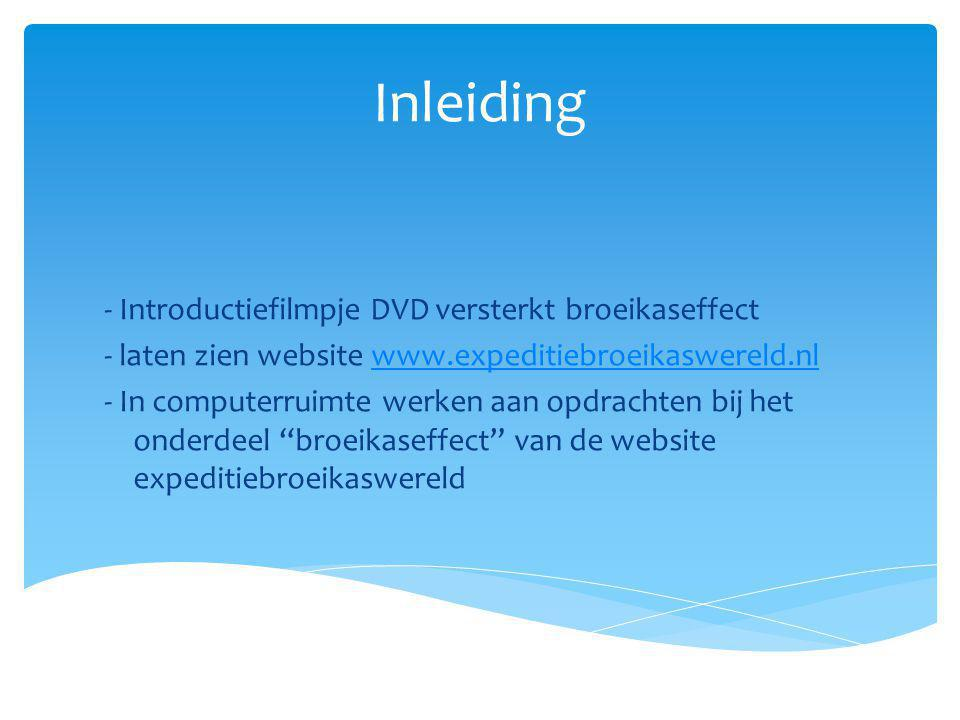 Inleiding - Introductiefilmpje DVD versterkt broeikaseffect