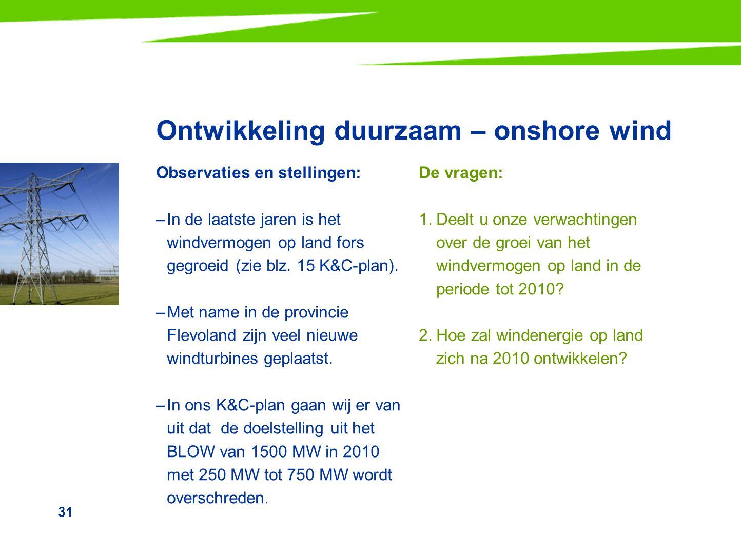 Ontwikkeling duurzaam – onshore wind