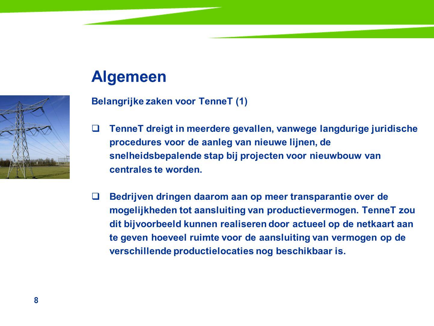 Algemeen Belangrijke zaken voor TenneT (1)
