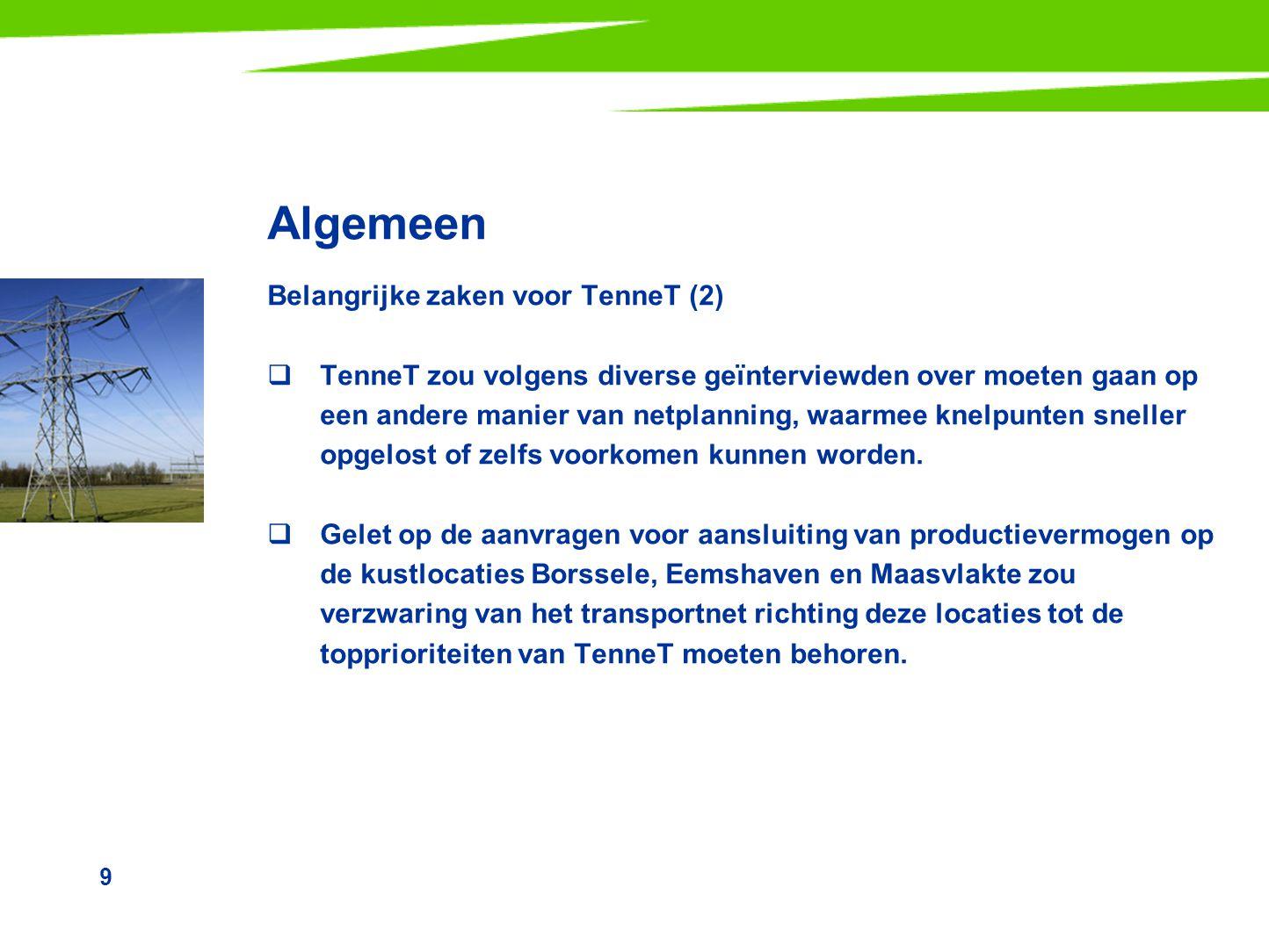 Algemeen Belangrijke zaken voor TenneT (2)