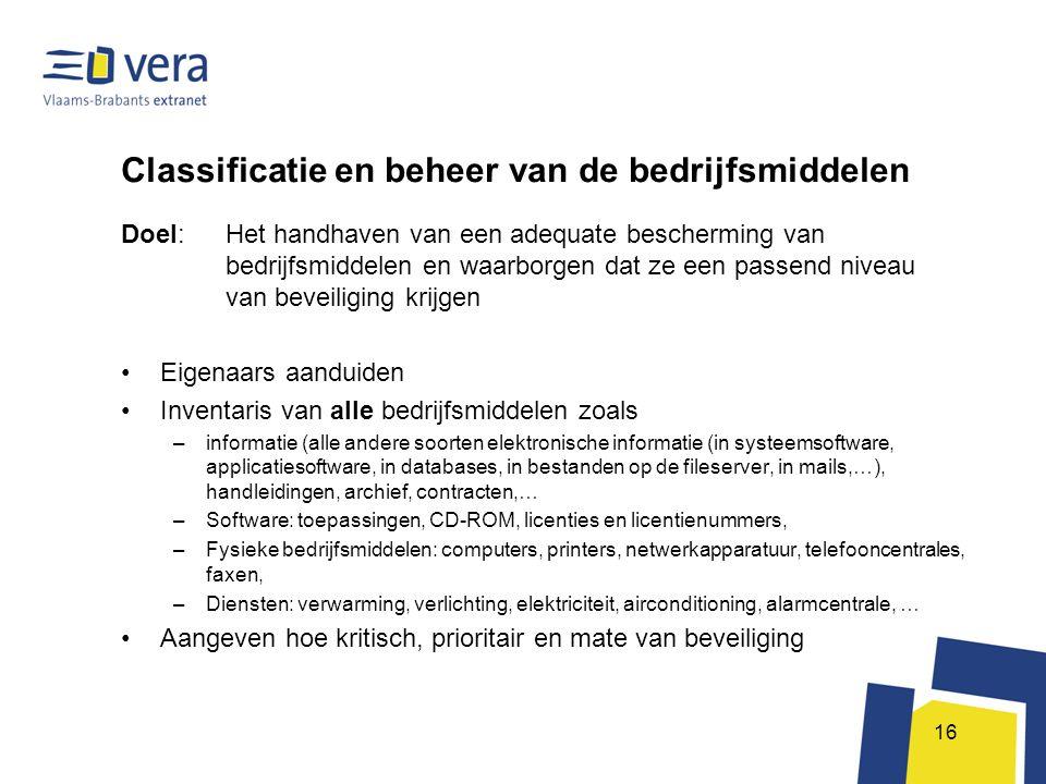 Classificatie en beheer van de bedrijfsmiddelen