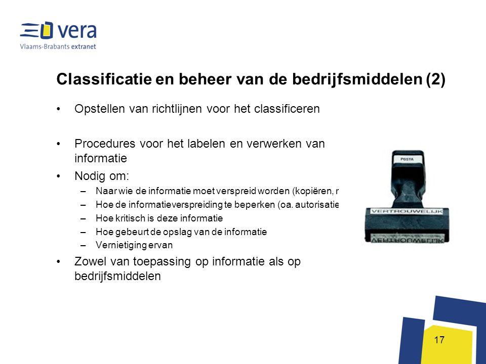 Classificatie en beheer van de bedrijfsmiddelen (2)