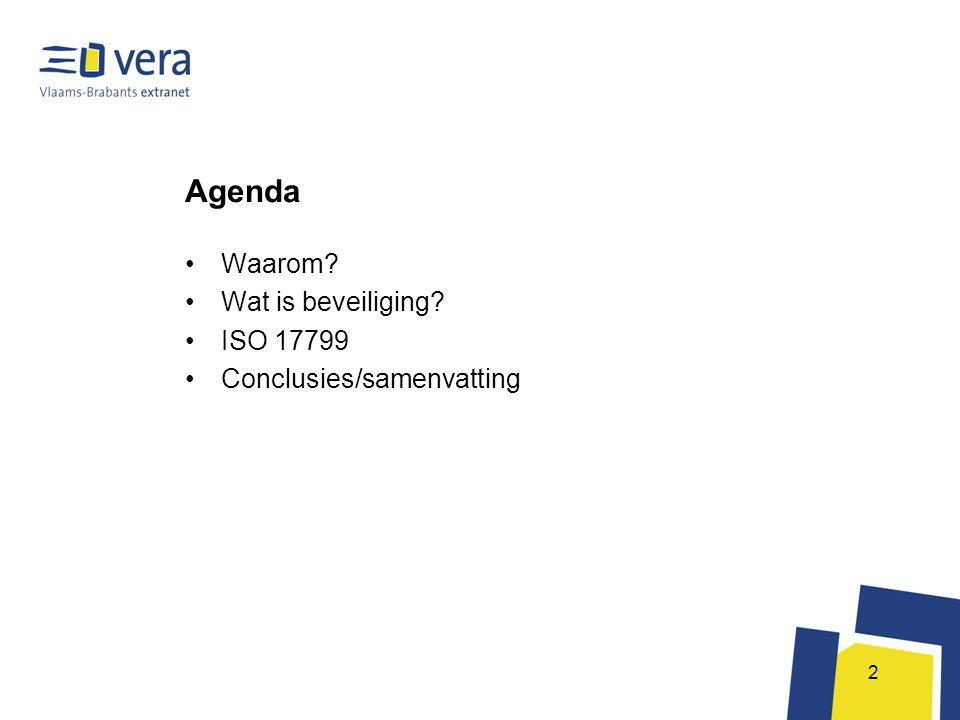 Agenda Waarom Wat is beveiliging ISO 17799 Conclusies/samenvatting