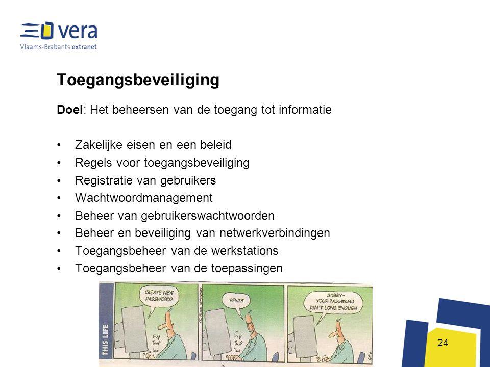 Toegangsbeveiliging Doel: Het beheersen van de toegang tot informatie