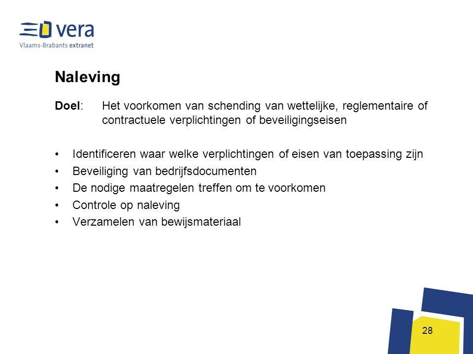 Naleving Doel: Het voorkomen van schending van wettelijke, reglementaire of contractuele verplichtingen of beveiligingseisen.